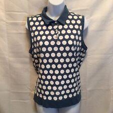 Liz golf womans large sleeveless knit teal top white polka dot collared