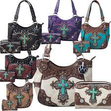 Western Turquoise Cross Laser Cut Concealed Carry Purse Women Handbag Wallet Set
