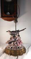 FREEMAN LEIDY ART MAJOLICA POTTERY NESTING BIRD PAIR LAMP