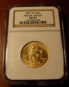 US 2007W Gold 1/2 oz $10 NGC MS70 First Spouse Series Abigail Adams