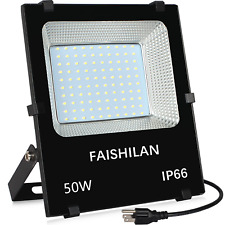 Faishilan 50W Led Flood Light Outdoor Ip66 Waterproof with Us-3 Plug 5000Lm for