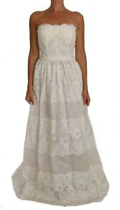 NEW DOLCE & GABBANA Dress Gown White Floral Lace Maxi Wedding IT36/US2/XS
