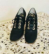 50's Vintage Black Suede Oxford Heels