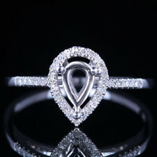 SOLID 10K White GOLD 4X6MM PEAR CUT SEMI MOUNT NATURAL DIAMOND RING SETTING