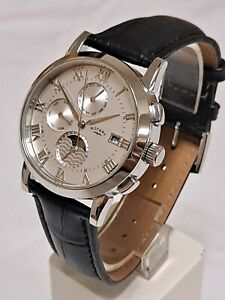 Rotary GS02377/01 men's automatic triple date skeleton watch with leather strap