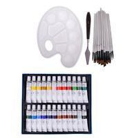 24 Colors Acrylic Paint Set &12 Paint Brushes & Color Scraper Tool & Palette