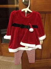 Girls Santa Suit Dress Leggings Size 0-3 Months Cat and Jack Christmas NEW NWT