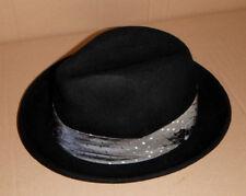 SINATRA FEDORA Hat BLACK WOOL SMALL NEW 65ebcdb4b88b