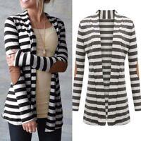 Women Spring Summer Striped Long Cardigan Coat Long Sleeve Casual Sweater Jacket