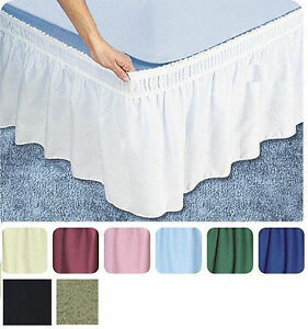 """Ruffle Wrap Around Skirt Bed 14"""" Drop Stretch Easy Fit ALL SIZE elastic wrap NEW"""
