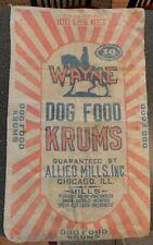 Vintage Wayne Dog Food Krums 100lb. Cloth Bag Collectible