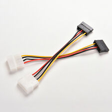 2X 4-Pin IDE Molex to 15-Pin Serial ATA SATA Hard Drive Power Adapter Cable LWC