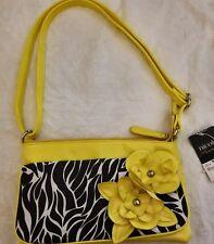 Nicole Miller Bright Yellow Summer Shiny Vinyl Zebra Flowers Purse NWT