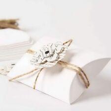 100pz Portaconfetti Cuscino Bianco Con Fiore In Carta Kraft Corda DI Canapa