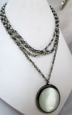 White ICING Cats Eye Drop Multi-strand Choker Necklace beaded chain