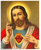 Catholic Picture Print Art Sacred Heart Jesus Vintage New Old Stock 8 x 10 Gloss
