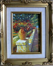 """Framed Oil Painting """"Wonderful Flowers in a Vase on a Porch"""" 9x11 inches"""