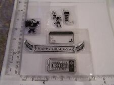 CLEAR RUBBER STAMPS ODD LOOSE  CHRISTMAS SANTA SILHOUETTE STARS STOCKING TAG