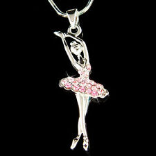 w Swarovski Crystal ~Pink BALLERINA~ Ballet Dancer Teacher Pendant Necklace Xmas
