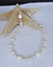 WHITE 9MM RINGED AND 15MM BAROQUE FRESHWATER PEARL NECKLACE NEW