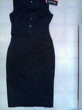 KAREN MILLEN BEAUTIFUL BLACK EMBROIDERED A-LINE DRESS US-6 NWT!!