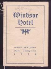 Vintage 1910 The Windsor Hotel Orange Nj New Jersey Dance Card