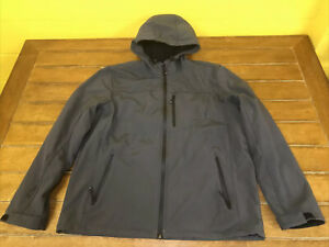 Men XL ZEROXPOSURE ZKBLK Gray Full Zip Hooded Jacket Windproof Stretch Softshell