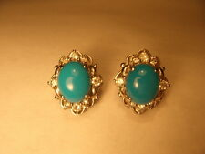 Fabulous Estate 18K White Gold Turquoise Diamond Stud Earrings