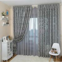 PM_ Bubble Leaf Pattern Window Sheer Curtain for Bedroom Living Room 100x270cm