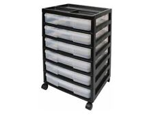 Project Scrapbook Carts 6 Case Chest Casters Black Craft Storage Party Organizer