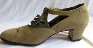 VINTAGE 1920s DOVE GREY SUEDE T-STRAP SHOES Heels Size 5 1/2