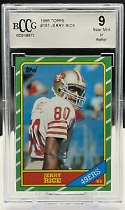 1996 Topps Jerry Rice rookie card graded 9 BCCG💥THE GREATEST RECEIVER EVER💥