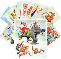 Postcards Pack [24 cards] Funny Apes Life Vintage Cartoon by Lawson Wood CC1136