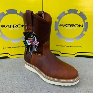 MEN'S WORK BOOTS SOFT TOE PULL ON ROUND TOE SAFETY BROWN GENUINE LEATHER #107RAY