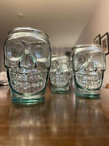 Halloween San Miguel Skull Glass Set Authentic 100% Recycled Gothic Decor 5""