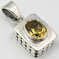 "925 Solid Sterling Silver 7 x 9 mm Citrine 2.0 Ct Pendant 1"" Gift Art Jewelry"