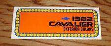 1982 Chevrolet Cavalier Exterior Colors Foldout Sales Brochure 82 Chevy