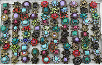 Job Lots 20pcs Rhinestone Alloy Old Age Mix Design Charm Colorful Adjust Rings