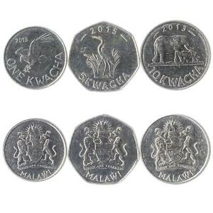 SET OF 3 COINS FROM MALAWI: 1, 5, 10 KWACHA. 2012-2018