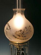 Fine Antique Circa 1835-1860 Bronze Sinumbra Lamp w Acid Cut Shade electrified