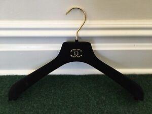 NEW CHANEL BLACK VELVET GOLD CC LOGO HANGER FOR JACKET SUIT COAT 100% AUTHENTIC