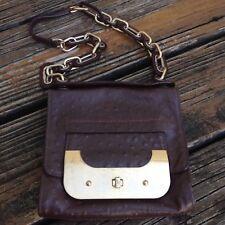 DVF Diane von Furstenberg Mini Harper Brown Ostrich Leather Bag Purse Handbag