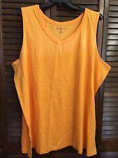 NWOT Roaman's Orange Cotton V-Neck Sleeveless Blouse Tank Top Size 3X #39