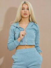 Ladies Co Ord Cropped Top Tracksuits Womens Pullover Hoodies Jogger Pants Set