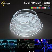 Plano EL Cable Neón 2/5m Tiras de luces +Inversor de potencia Lampara decorativa