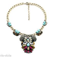 Statement Bohemian Halskette Collier Kette Vintage Kristall Perle Bloger