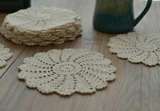 "Dozen Ecru 8"" Round Hand Crochet Doilies Cotton Coasters Lot French Country"