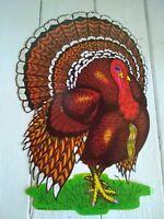 """VINTAGE TURKEY Die Cut Paper THANKSGIVING Decoration 1970'S BEISTLE CO. 10""""x17"""""""