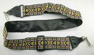 """Retro Hippie Camera Shoulder Strap with Metal Clips 1 3/4"""" Wide - Used - C912"""