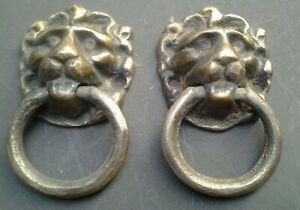 Antique Brass Drawer Pulls Lion Head Ring Dresser Cabinet Door Knob Lot of 2